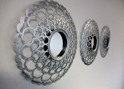 £11.87 • Buy Set Of 3 Decorative Antique Silver Mirrors Round Wall Mounted Moroccan Art Deco