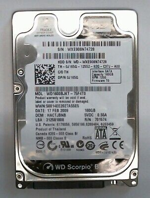 AU82.49 • Buy 160 GB SATA WD Scorpio Black WD1600BJKT-75F4T0 Hard Drive General Overhaul