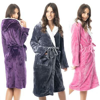 £13.45 • Buy Womens Hooded Dressing Gown Bath Robe Flannel Fleece Robes Sherpa Hood Gowns