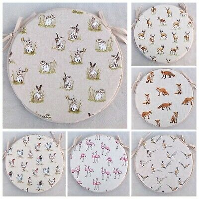 £25 • Buy Round Bistro Style Chair Seat Pads, 2 Sizes,14  & 12 , Country Farmyard Designs