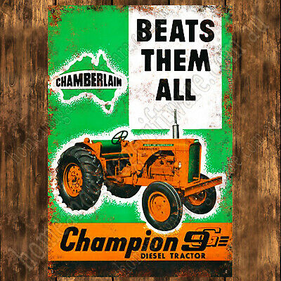 AU34.11 • Buy 200mm X 285mm ALUMINIUM SIGN, CHAMBERLAIN TRACTOR, CHAMPION 9G