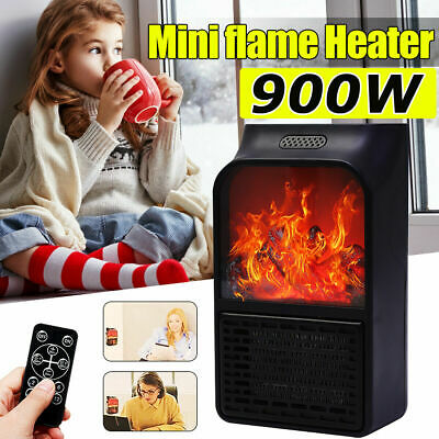 $20.33 • Buy 900W Electric Space Heater Fireplace Flame Timer Fan Air Warmer Blower Silent FA