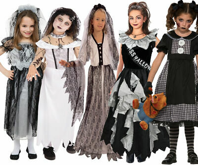 Zombie Girls Costume Gothic Bride Fancy Dress Outfit Halloween Kids Rag Doll • 12.49£