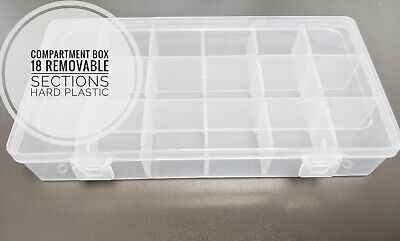 Transparent 18 Removable Sections Compartment Organiser Box Plastic • 3.95£