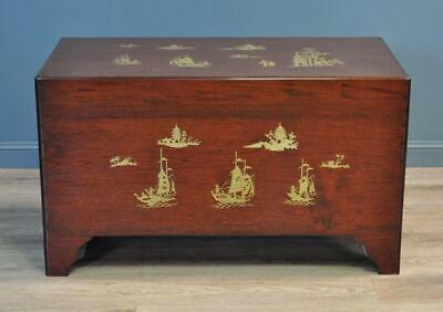 Large Oriental Carved Camphorwood Coffee Table Blanket Toy Chest Kist • 325£