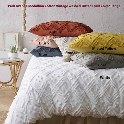 AU24.98 • Buy Park Avenue Medallion Cotton Vintage Washed Tufted Quilt Cover Set 7-Colours