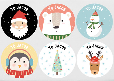 52x Personalised Christmas Stickers Santa Father Christmas Present Labels • 2.59£