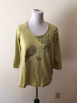 £14.49 • Buy Good Karma Life Is Good Lime 3/4 Length Top With Owl - Womens Large Semi Fitted