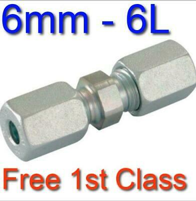 6L EQUAL STRAIGHT HYDRAULIC COMPRESSION FITTING/COUPLING TUBE PIPE JOINER 6mm • 5.27£