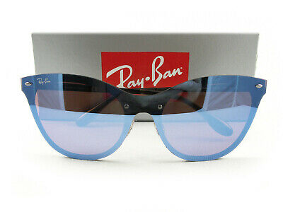 $108.75 • Buy Ray-Ban Sunglasses RB3580N Blaze Cat Eye Black Violet Blue Mirror 153/7V