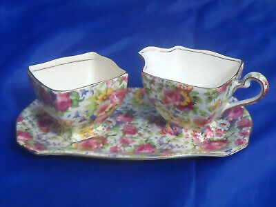 $ CDN254.99 • Buy Royal Winton Chintz Summertime  Ascot Creamer Open Sugar Tray Set Grimwades 775