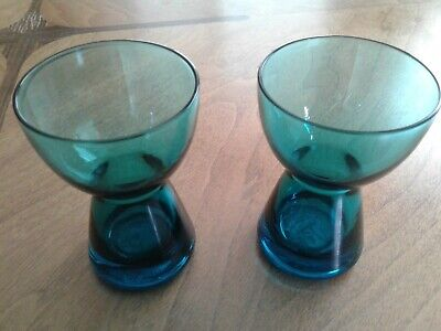 """Vintage Pair Of MORGANTOWN Glass Barton Candle Holders - Peacock Blue - 3 3/4"""" • 12$"""