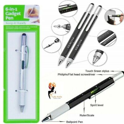 6 In 1 GADGET PEN Stylus Built-In Ballpoint Screwdriver Ruler Spirit Level Belt  • 3.38£