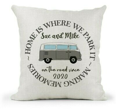 Personalised Home Is Where We Park It Cushion..VW Campervan/Camper Gift/Family • 12.99£