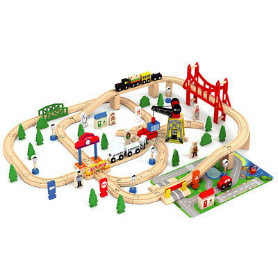 Wooden 100 Pcs Busy City & Train Set Railway Track Toy Brio Bigjigs Compatible • 39.99£