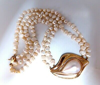 $1980 • Buy Mabe Pearl Fresh Water Double Stranded Bead Necklace 14kt 16 Inch