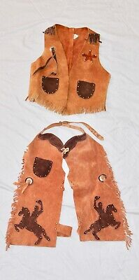 $49.99 • Buy VINTAGE Red Brown REAL LEATHER Western Cowboy Kids Youth Vest & Chaps Sm L
