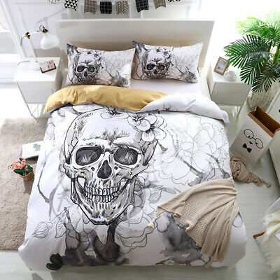 Skull Flower Duvet Cover Bedding Set With Pillow Cases Single Double King Sizes • 23.50£