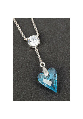 Genuine Swarovski Necklace Blue Heart Pendant By Equilibrium Jewellery • 16.99£
