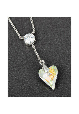 Genuine Swarovski Necklace Clear Heart Pendant By Equilibrium Jewellery • 16.99£