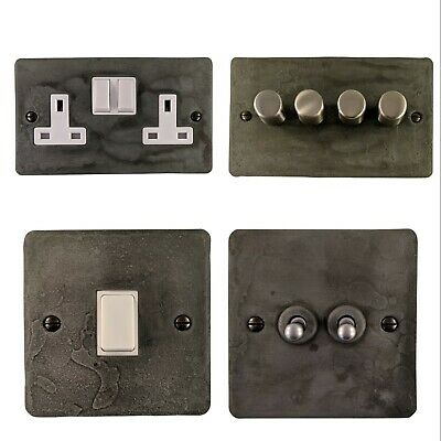£29.95 • Buy Rustic Pewter Flat Plate FRPW Light Switches, Plug Sockets, Dimmers,Cooker, Fuse