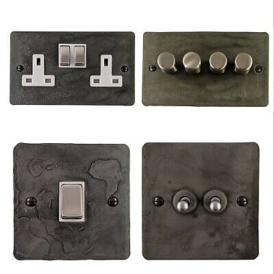 Rustic Pewter Flat Plate FRP2 Light Switches, Plug Sockets, Dimmers,Cooker, Fuse • 32.95£