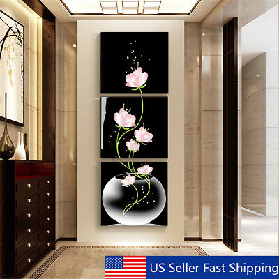 $6.98 • Buy 3Pcs Modern Abstract Flower Art Canvas Painting Print Wall Picture Home