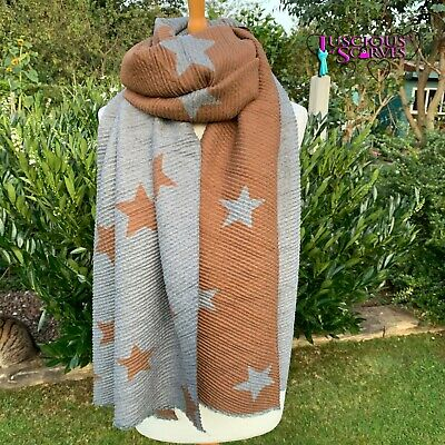 Stars Star Scarf Brown & Grey Crinkle Stretchy Reversible Scarf Wool & Cotton   • 14.94£