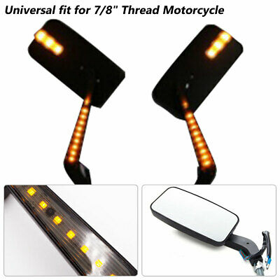 $27.29 • Buy Amber LED Motorcycle Side Mirror Reversing Left + Right Rearview  8MM/10MM