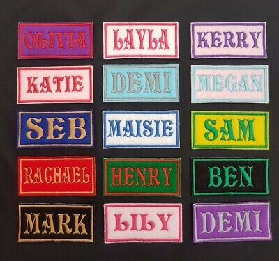 Personalised Embroidered Name Patch Badge Rectangular Iron On Or Sew 100 X 40  • 3.45£