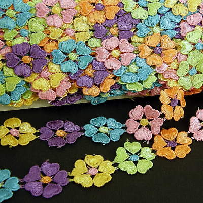 Lace Trim, Sewing Dressmaking Edging  Multi Coloured 23mm Lc4 X 12 Flowers • 1.85£