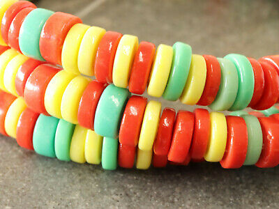 $5.60 • Buy Czech Glass Wheel Beads 8mm Flat Disk Spacer Beads Rasta Bead 45 Beads