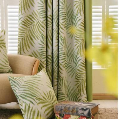 £27.54 • Buy Tropical Palam/Fern Leaf Green Curtains For Living Room Bedroom Window