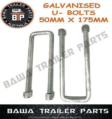 AU19.95 • Buy 2x Galvanised U-Bolts 50MM SQUARE 175mm Long  !!! Trailer Parts
