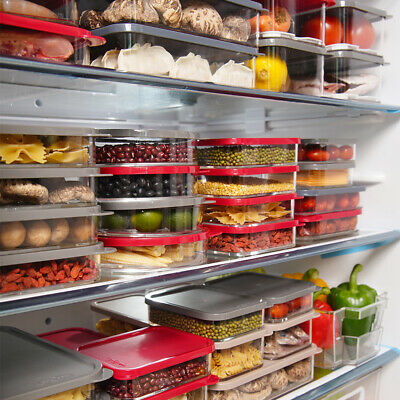 Set Of EConcept BPA Free Airtight Acrylic Food Fridge Container Storage Red Lid • 16.99£