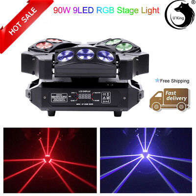 90W 9 LED RGB DJ Spider Moving Head Stage Lighting Beam LED Disco Party Lights • 124.99$