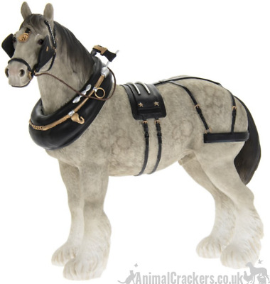 Large 22cm Grey Shire Cart Heavy Horse Harness Ornament Figurine Leonardo, Boxed • 28.95£