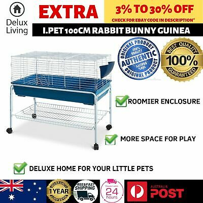 AU111.61 • Buy 100cm Bunny Home Hutch Cage Rabbit Guinea Pig Hamster Habitat Wheel Stand Feeder
