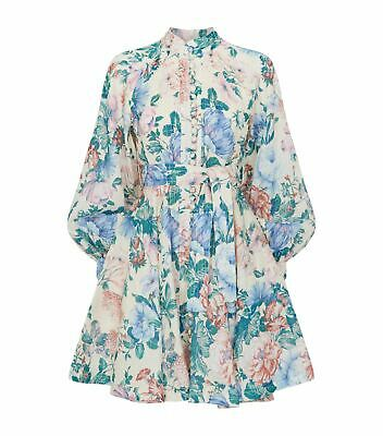 NWT Zimmermann Verity Rouleau Belted Button Up Floral Short Dress - Size 0 • 289$