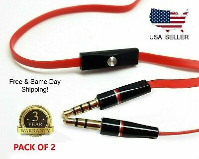 £4.59 • Buy 2Replacement 3.5mm Audio Cable With Mic Aux Cord For Beats By Dr Dre Headset New