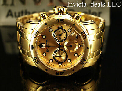 $ CDN113.93 • Buy Invicta Men's 48mm PRO DIVER Scuba Chronograph Gold Dial 18K Gold Plated Watch