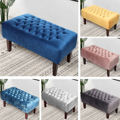 Large Velvet Chesterfield Footstool Pouffe Seat Coffee Table Ottoman Bench Chair • 85.95£