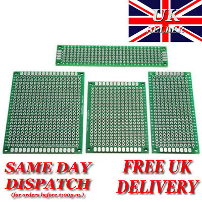 £0.99 • Buy Double Sided Prototype PCB Printed Circuit Board FR-4 2.54mm - UK Stock
