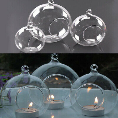 £10.74 • Buy 6-36X Clear Glass Ball Fillable Bauble Hanging/Table LED Candle Tea Light Holder