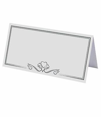 £3.99 • Buy 50 White Silver Heart Table Setting Place Name Card Wedding Christmas Party