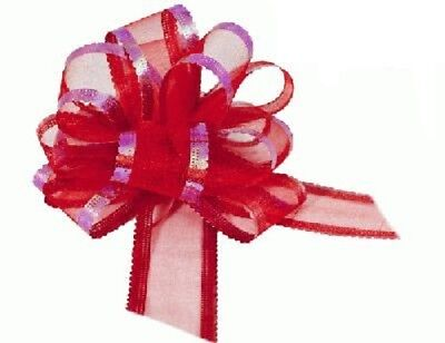 Red Organza Pull Bows Wedding Swags, Pew Ends, Floristry, Gifts • 3.29£