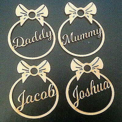 Personalised Christmas Tree Decoration Baubles Wooden Shapes Gift Tags Xmas     • 2.50£