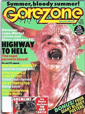 Gorezone # 15 Magazine Horror Highway To Hell Class Of 1999 Chas Balun Whispers • 8$