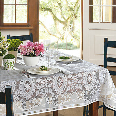 $16.99 • Buy White Lace Tablecloth With Classic Victorian Pattern In Square Or Rectangle