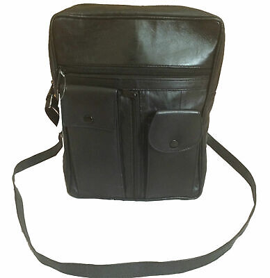 Real Leather Messenger Bag Shoulder Manbag  Travel Pouch Black Organiser Man Bag • 11.99£